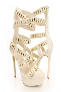 Beige Faux Leather Studded Strappy Platform Heels http://www.vip-eroticstore.com