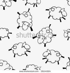 hand drawn cute happy sheep outlines seamless pattern, childish background  - stock vector
