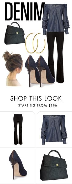 """""""Date Night Double Denim"""" by bevlash ❤ liked on Polyvore featuring Frame, Exclusive for Intermix, Chanel and Dyrberg/Kern"""