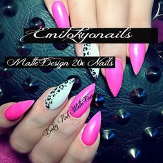 20 Baby Pink Matte Leopard Stiletto Nails Hand Painted Full Cover Nail+Glue #Emitokyonails