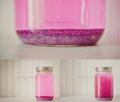 Calming Jar for Kids:  when a child is overwhelmed, shake it up and have the child sit and watch it until all the glitter settles back to the bottom.  The jar is a great time-out alternative when kids are simply overexcited, upset, or overstimulated rather than in need of correction (and would be great for teachers as well).  Fill jar with 1T clear glue per cup of hot water, 1 inch glitter, and food coloring.