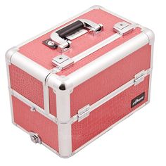Enjoy an easy and stylish way to keep your professional makeup organized on the go. This sturdy hot pink crocodile print makeup case from JustCase is just the thing you need to keep your supplies and makeup close at hand.