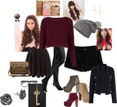 """""""Girly Winter highschool outfit"""" by edith-yung on Polyvore"""