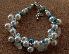 Sea glass cluster bracelet