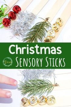 These Christmas sensory sticks allow for exploration through the senses of smell, touch, hearing and sight, and, they are incredibly simple to put together! #sensoryplay #sensory #occupationaltherapy #preschool #teacher #christmascrafts #christmas #kidscrafts #kidsactivities