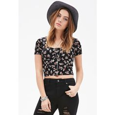 Forever 21 Velveteen Rose Crop Top ($6.99) ❤ liked on Polyvore featuring tops, shirts, henley shirt, stone rose shirts, short sleeve tops, special occasion tops and party shirts