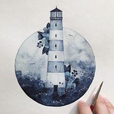 Artwork by bullet journal watercolour, i Art And Illustration, Watercolor Illustration, Watercolor Paintings, Watercolour Pencil Art, Illustrations, Lighthouse Drawing, Lighthouse Art, Painting Inspiration, Art Inspo