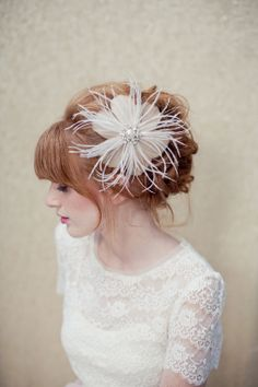 Bridal Hair Flower, gold feather flower, feather fascinator, Kate Ships in 1 Month -$138.00