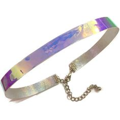 Reversible Holographic Leather Choker ($13) ❤ liked on Polyvore featuring jewelry, necklaces, choker necklace, holographic necklace, iridescent necklace, leather choker and rainbow jewelry
