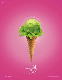Print advertisement created by Creative Mindworks, United States for Gastro Lite, within the categories: Food, Health. Food Graphic Design, Graphic Design Posters, Graphic Design Inspiration, Photography Projects, Creative Photography, Food Photography, Polar Bear Ice Cream, Ice Cream Museum, Ice Shop