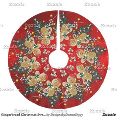 Gingerbread Christmas Sweets Brushed Polyester Tree Skirt