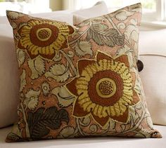 Ruby Madhubani Floral Embroidered Pillow Cover #potterybarn -- LOVE this for a fresh look in living room in summer/fall months.