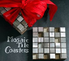 A hostess gift for those upcoming holiday parties: Mosaic Tile Coasters. They are quick and easy to make. Use leftover glass metallic tiles to make these coasters.
