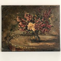 - French Floral Oil Painting - $420  A beautiful and old French Oil Still Life painted on hardwood board.  The brushstrokes are thickly textured in deep plums pinks and greens on a dark background. The painting has a wonderfully atmospheric dark and aged patina.  Signed lower right.  30.4cm wide 24cm high  To BUY this piece HIT THE LINK IN THE BIO  #Still Life | #affordableart #antiqueart #antiquepainting #artcollectors #artlovers #artonline #artshop #artsource #darkfloral #floral…
