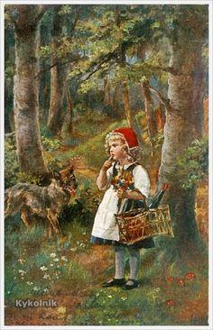 C. Branden (German, XIX-th.c) «Little Red Riding Hood» postcard