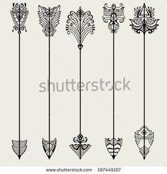 Similar Images, Stock Photos & Vectors of Vector set of vintage arrows - 110859590 - Vector set of vintage arrows, hand drawn in graphic style – stock vector - Body Art Tattoos, Tattoo Drawings, New Tattoos, Small Tattoos, Sternum Tattoos, Tatoos, Tattoo Heaven, Tattoo Dentelle, Arrow Tattoos