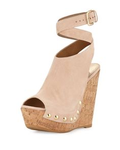 Wrap Up Suede Wedge Sandal, Bisque by Stuart Weitzman at Neiman Marcus.