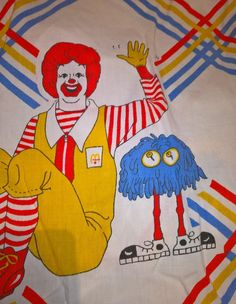 Vintage McDonald's Ronald McDonald Fry Guy Fitted Twin Sheet  Craft Material DIY