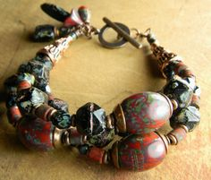 Hey, I found this really awesome Etsy listing at https://www.etsy.com/listing/258570527/red-black-chunky-bracelet-boho-copper