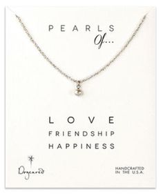 "Handmade SS Sparkle Chain and White Potato Pearl Pearls of Wisdom Necklace, 18"""" Handmade SS Sparkle Chain and White Potato Pearl Pearls of Wisdom Necklace, 18"". Sterling silver sparkle chain with 4mm white potato pearl charm. Pearls of... message card. Made by Dogeared in the USA."