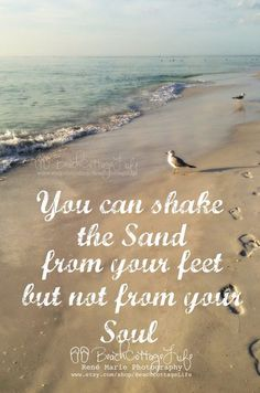 You can shake the sand from your feet but not from your soul / Beach Seaside footprints Sunset Coast Beach Walk, Ocean Beach, Beach Bum, Summer Beach, Sand Beach, Summer Vibes, Sea Quotes, Beach Life Quotes, Hawaii Quotes