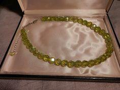"Vintage Art Deco Czech Uranium 2 Color Glass Beads necklace-19"" #StrandString"