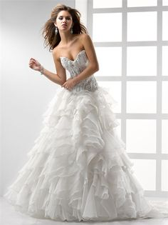 A-line Sweetheart Embroidered and Ruffled Lace up Organza Wedding Dress WD1684 www.tidedresses.co.uk $364.0000
