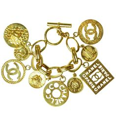 CHANEL Gold Charm Bracelet | From a unique collection of vintage chain bracelets at http://www.1stdibs.com/jewelry/bracelets/chain-bracelets/