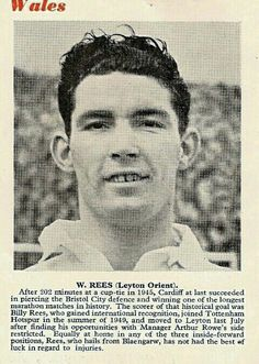 Billy Rees of Leyton Orient & Wales in 1950.