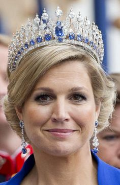 T: Sapphire Tiara, worn by Queen Maxima of the Netherlands. Amsterdam, 30 april 2013.