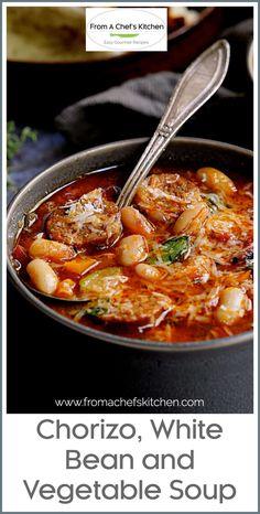 Recipes With Chorizo Sausage, Chorizo And Bean Stew, Spicy Bean Soup, Soup Beans, Bean Soup Recipes, Chowder Recipes, Healthy Soup Recipes, Cooking Recipes, Gf Recipes