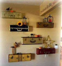 Suitcases made into shelves!