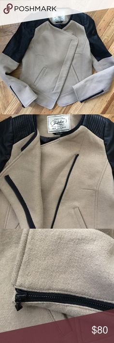 Zara Trafaluc Wool Moto Jacket w/Faux Leather Zara Trafaluc Tan Wool Moto Jacket with faux leather details. Zip closure. Zipper details on sleeves. Fully lined.  Outer shell: 51% Wool,38% Polyester, 11% Viscose. Runs a bit small a sits from Trafaluc line. In excellent condition. Worn twice! Zara Jackets & Coats