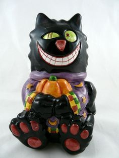 Halloween Black Cat Decorative Canister Jar Ceramic By WCL Has Damage