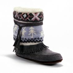 Muk Luks Women's 'Ricki' Grey Knit Slipper Boots