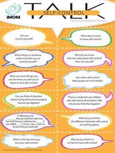 Self-Control Talk, Conversation Starters