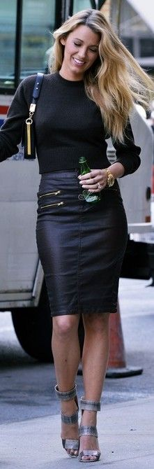 87dde522a222c6 Blake Lively + black leather pencil skirt and black sweater   so chic