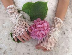 Vintage Style Fingerless Crochet Bridal Gloves Victorian  via Etsy.