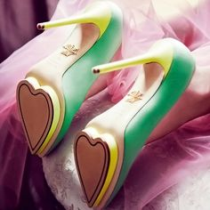 Why wear your heart on your sleeve when you could wear it on your heels? LOVE these Debonaire Pumps by Charlotte Olympia...They'd still make me cranky, but totally cute!