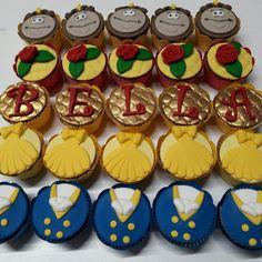 Mini cupcake A bela e a Fera, personalizado em pasta americana, recheado com brigadeiro ou doce de leite.      PESO APROXIMADO