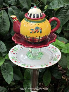 Garden Totem Stake Christmas HollyTeapot by GardenWhimsiesByMary, $30.00