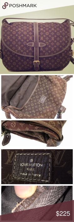 """LV Mini Lin Saumur 30 Guaranteed authentic preowned brown Mini Lin Saumur 30.  First is a stock pic.   In decent used condition, small tear near strap, corners starting to wear.  100% usable as is.  Cute print that makes this classic a little different.  Can be a messenger or crossbody & fits a ton.  PLEASE see photos BEFORE purchasing to see flaws.  Price reflects condition.  11x7x4"""" Louis Vuitton Bags"""