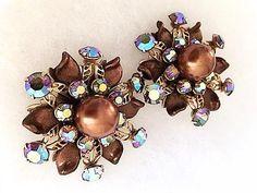 Extra Large Retro 1950s Clip On Flower Earrings . by bonitalouise