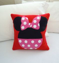 Minnie Mouse  Fleece Throw Pillow, Disney by PatternsOfWhimsy on Etsy