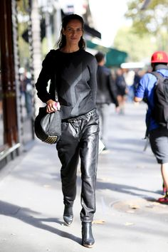 Leather trousers and studded Alex Wang bag. #PFW