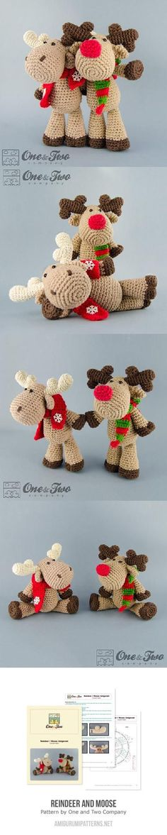 Found at Amigurumipatterns... Reindeer and Moose by One and Two Company $4