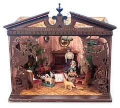 The Boys' Collection: 151 German Wooden Doll House Room with Elaborately Carved Facade and Christmas Scene