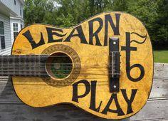 Painted Guitar Signacoustic guitaroriginal by ZekesAntiqueSigns