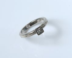 3.5mm square diamond in 18ct white gold - customer commission 2014