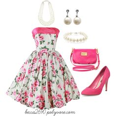 """""""Old-fashioned pink & pearls"""" by becca2690 on Polyvore"""